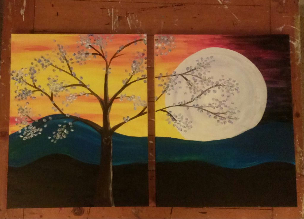 Couples Moonlit Tree