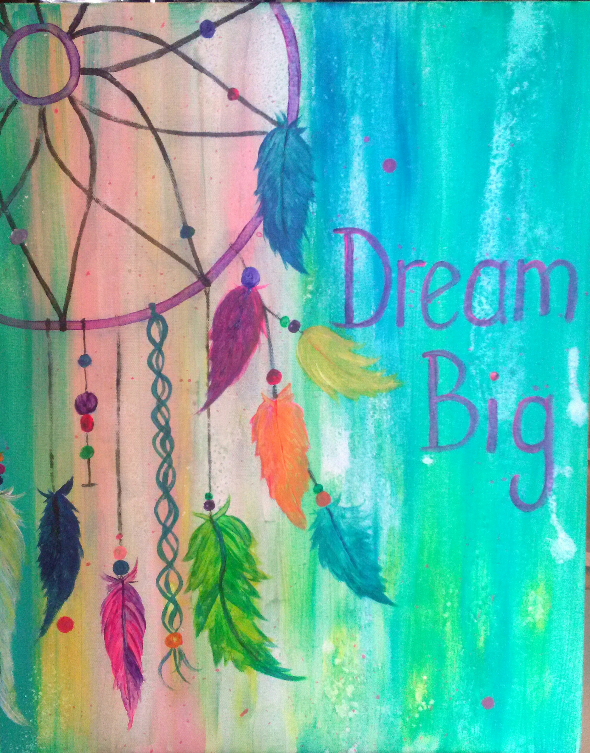 Dream catcher tues nov 25 7pm class full for Teaching kids to paint on canvas