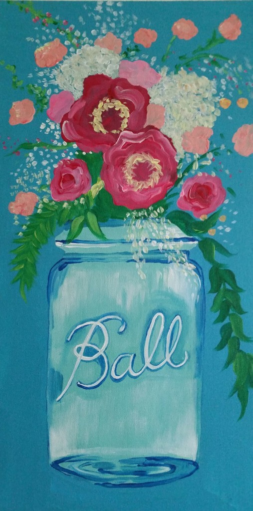 Ball Jar Bouquet $35 - 12x24 canvas