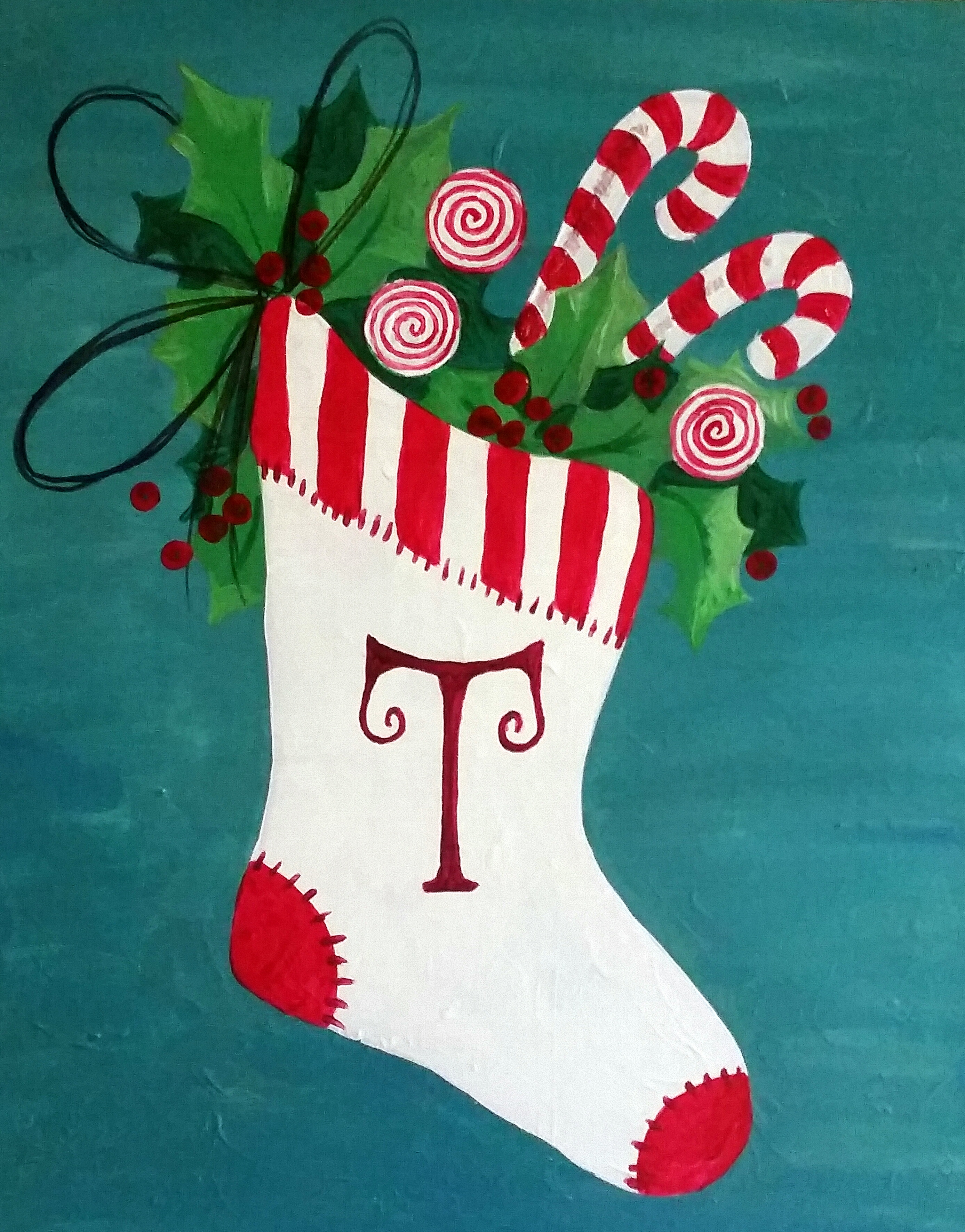come paint this vintage christmas stocking with us step by step we paint together so it is important that you arrive a little bit before - Vintage Christmas Stockings