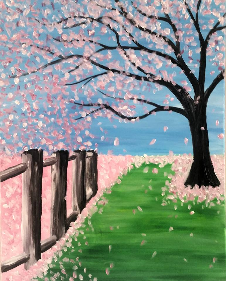 3rd 4th 5th Graders Are Invited To Join The Painting Fun They Can Paint This Cherry Blossom Tree Step By With Me And Take It Home Same Day